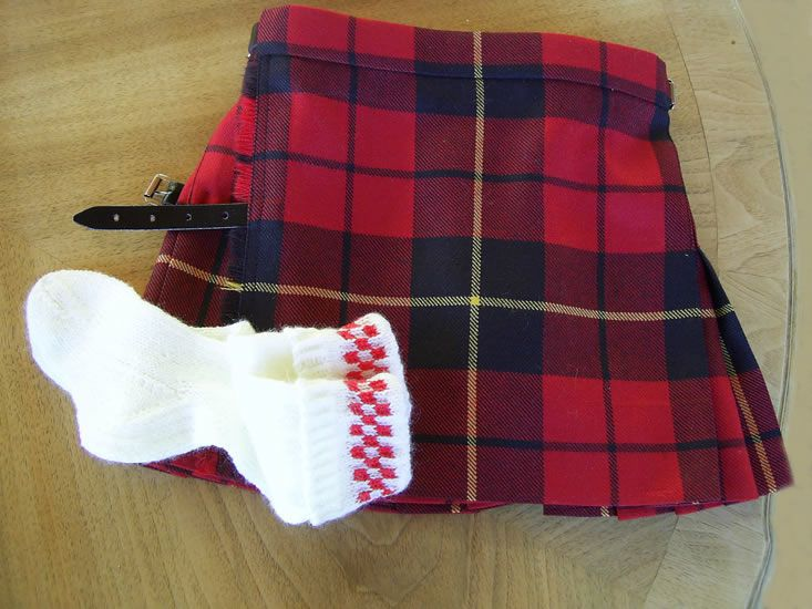 Modern Red Wallace kilt for baby