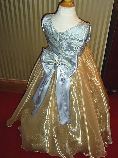 Flower girl gold and silver dress back bow