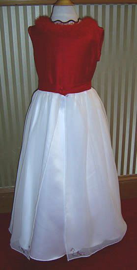 Red and white glower girl dress