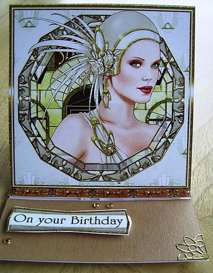 On Your Birthday Art Deco card