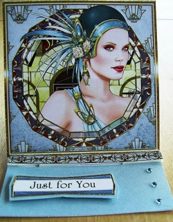 Just For You blue Art Deco card