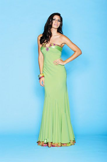 Strapless apple green gown