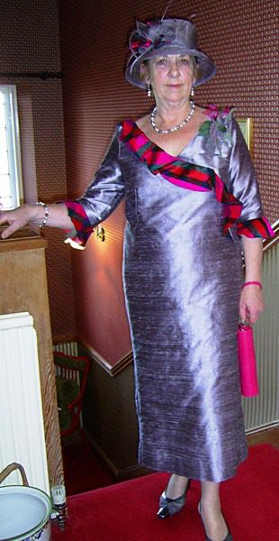Tartan sash mother of the bride dress