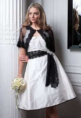 Ivory and black wedding dress