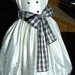 Flower girl ivory & black silk dress