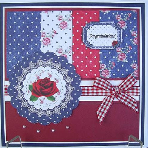 Congratulations red white & blue handcrafted card