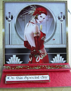 On This Special Day red Art Deco card
