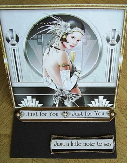Just For You black silver Art Deco card
