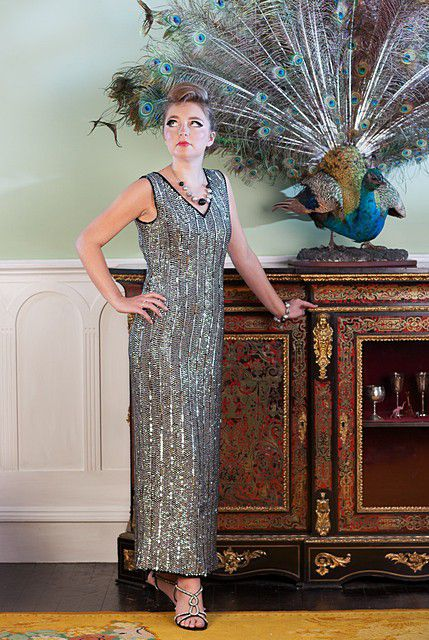 Metallic-style-long-evening-dress