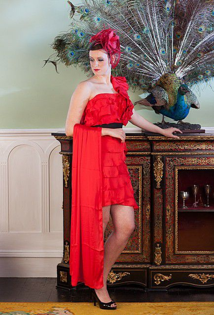 Short-red-ruffle-dress
