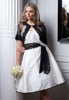 Bespoke ivory and black wedding dress